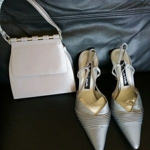 Satin pumps with matching purse